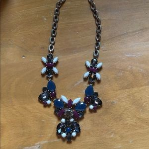 J Crew Chunky Statement Necklace - Blue Plum Grey
